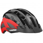 casco lazer compact dlx + insectnet + led - black red unisize /ce-cpsc